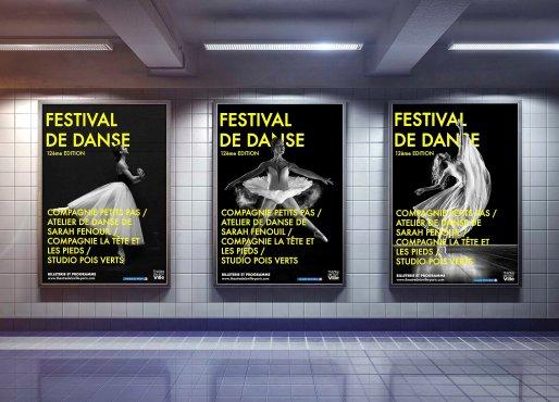three big vertical poster on metro station